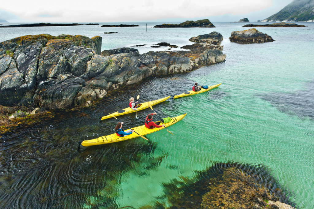 Navigate your kayak through crystal clear water
